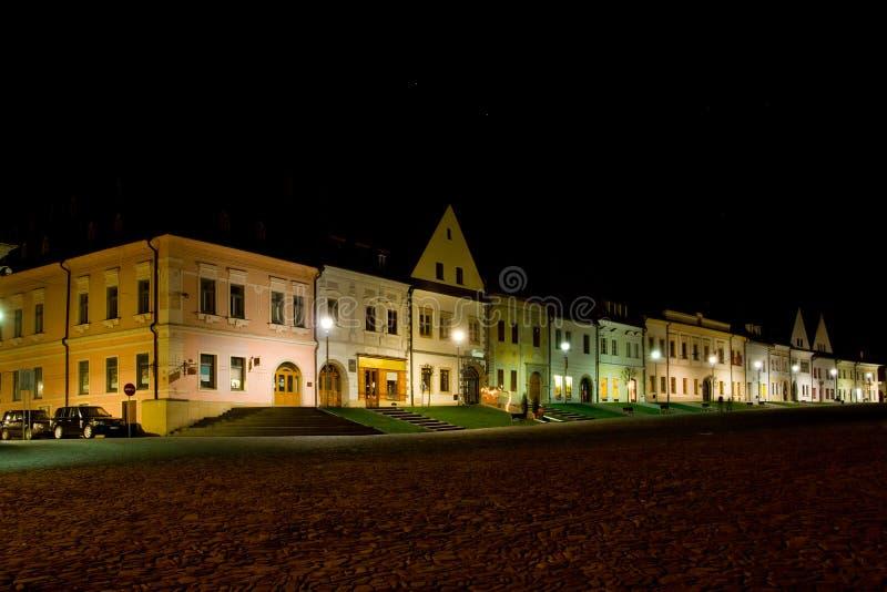 HOME coloridas em Bardejov imagem de stock