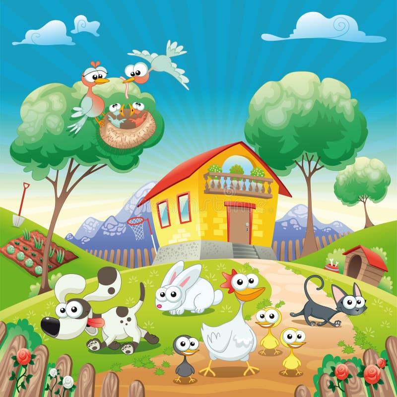 HOME com animais. ilustração stock