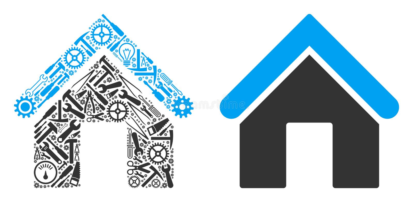 Home Mosaic of Repair Tools. Home composition of workshop instruments. Vector home icon is created of gears, spanners and other mechanical items. Concept for stock illustration