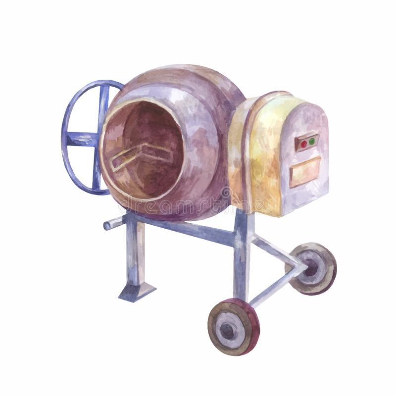 Home concrete mixer isolated. Watercolor drawing. Tool for pouri stock photography