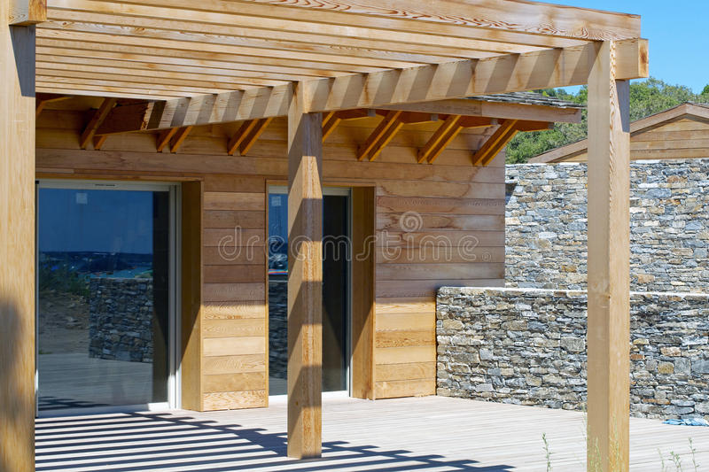 Home Construction. With wood framing and roof trusses royalty free stock image
