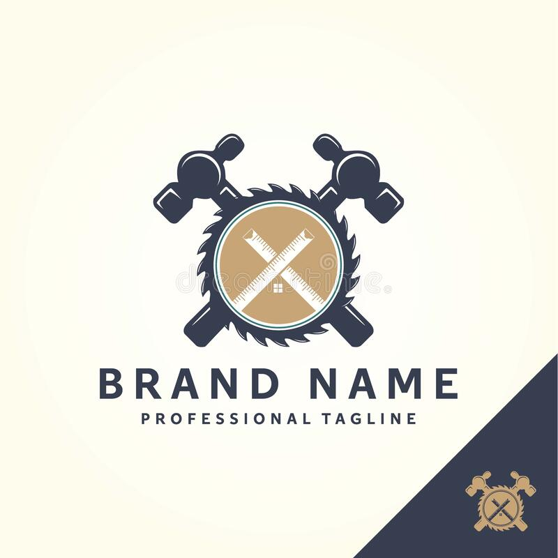 Home Construction Logo Template With House, Scale And