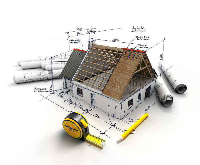 Home construction project stock illustration