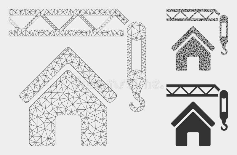 Home Construction Vector Mesh Wire Frame Model and Triangle Mosaic Icon. Mesh home construction model with triangle mosaic icon. Wire carcass triangular mesh of vector illustration