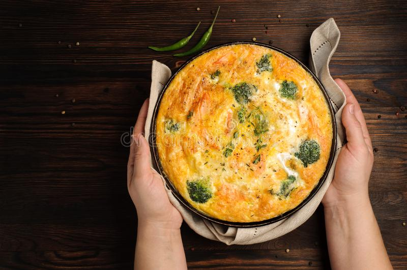 Home cooked frittata stock image