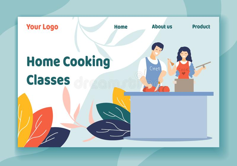 Home Cooking Classes Horizontal Banner, Workshop. Home Cooking Classes Horizontal Banner, Young Loving Couple Together on Kitchen Prepare Dinner. Love, Relations vector illustration