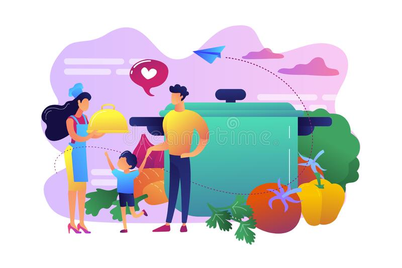 Home cooking concept vector illustration. Tiny people family waiting for wife in apron cook tasty food and big pot, vegetables. Home cooking, home foods recipes stock illustration