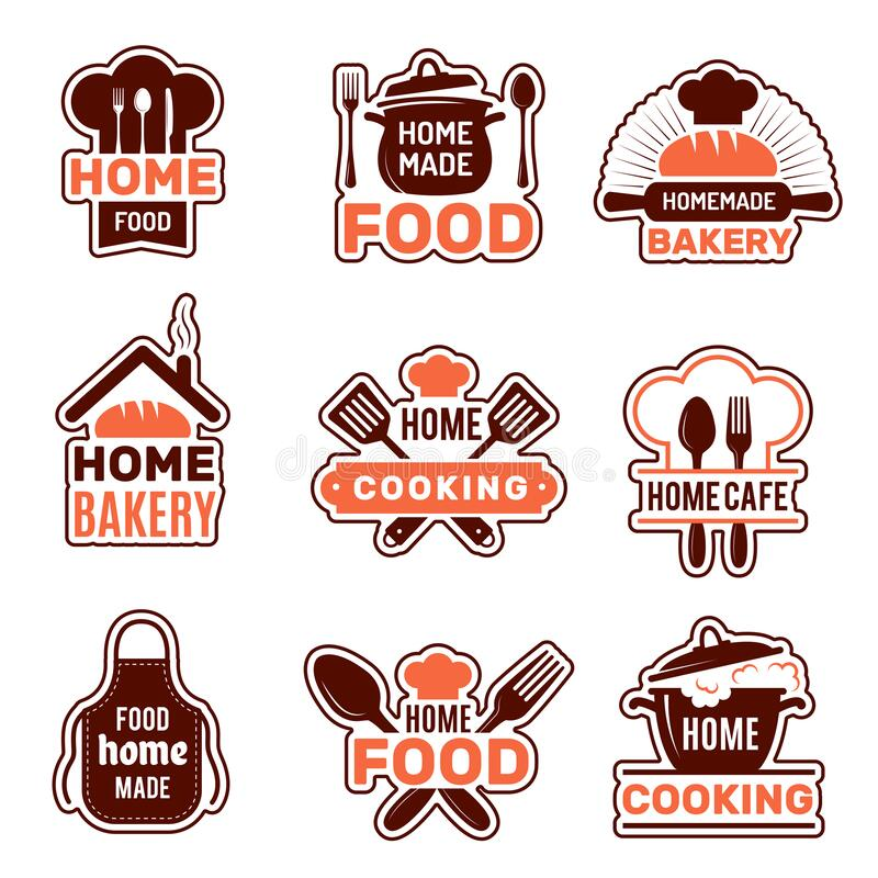 Home Cooking Logo . Kitchen Badges Vector Collection Bakery