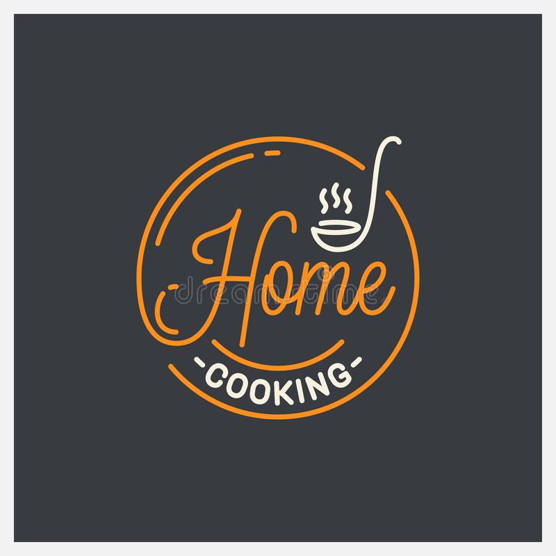 Home cooking logo. Round linear of ladle on black. Home cooking logo. Round linear logo of ladle on black background 8 eps vector illustration