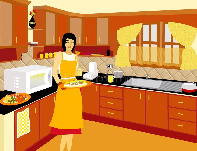 Home cooking-the ultimate chef. Illustration of a fully furnished kitchen with the lady of the house trying out new recipes vector illustration