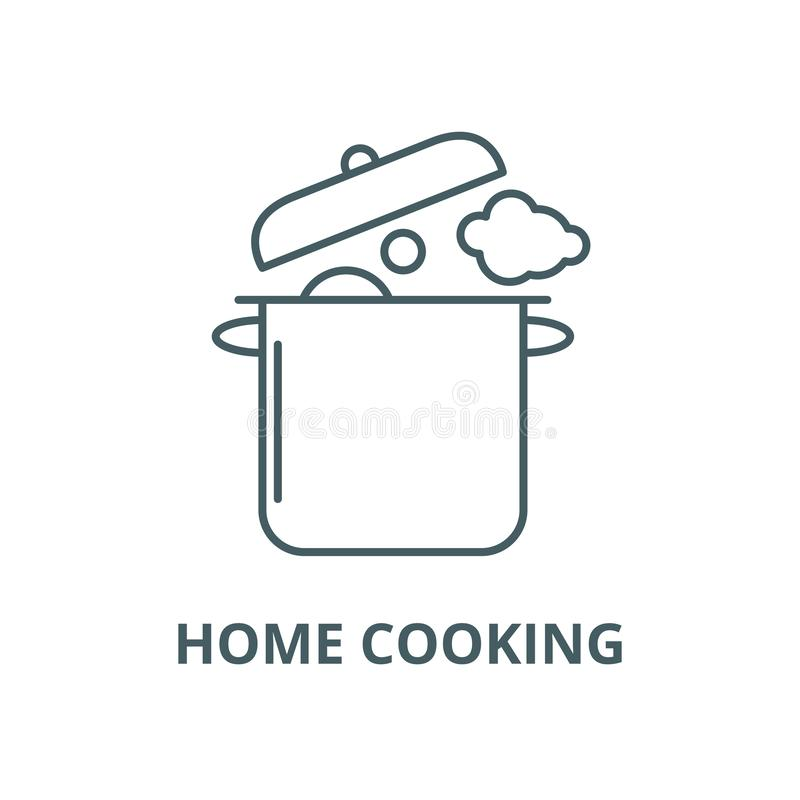 Home cooking vector line icon, linear concept, outline sign, symbol. Home cooking vector line icon, outline concept, linear sign royalty free illustration