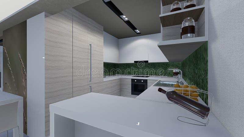 Home 3d design. 3d design of modern home appartment indoor royalty free illustration