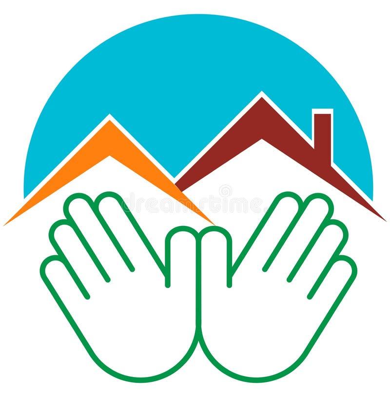 Home deal logo. Vector illustration of hands deal home logo vector illustration