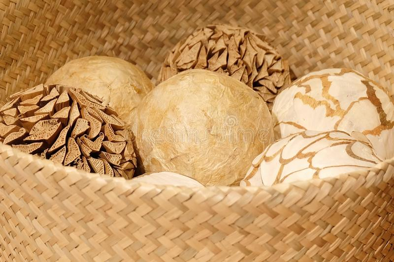 Natural Decorative Balls Interesting Natural Decorative Balls In A Wooden Basket Stock Image  Image Of Inspiration