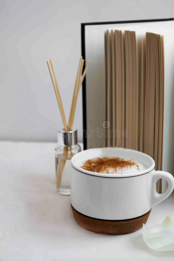 Home decor with a cup of coffee royalty free stock photo