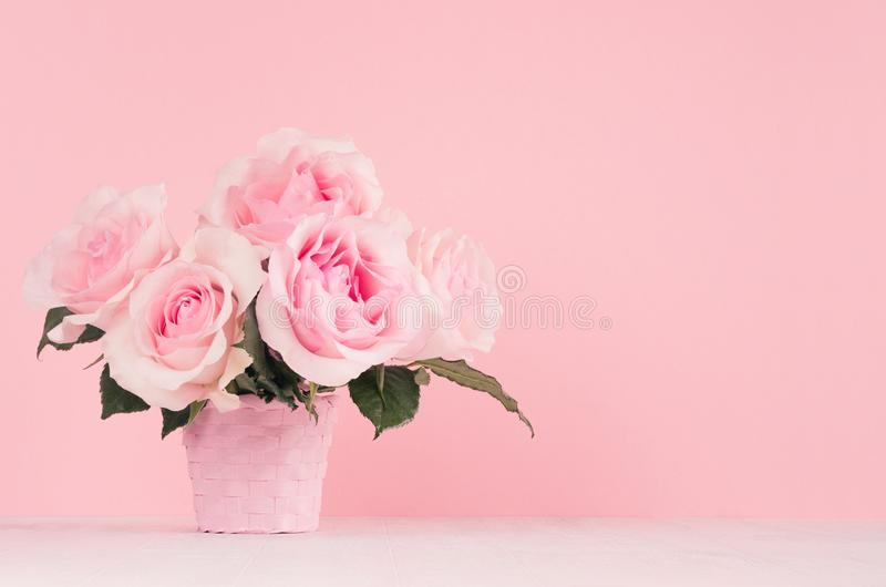 Home decor with flowers in romantic style - pastel pink roses bouquet in basket on white wood table, copy space. stock photos