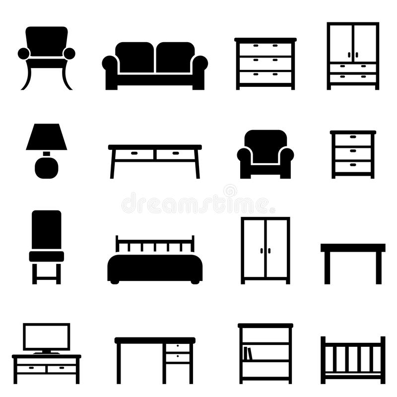Home decor and furniture icons stock illustration