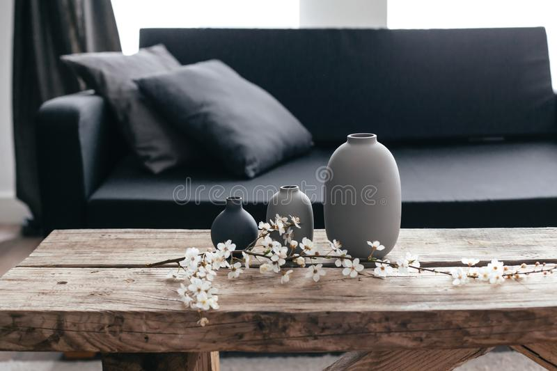 Home decor in scandinavian interior royalty free stock images