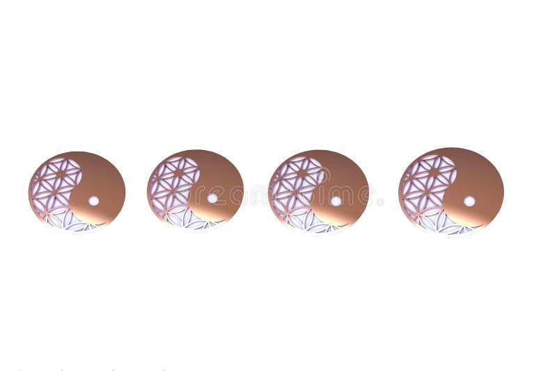 Home decor with yin-yang symbol handmade in wooden. Metal, white, black, blue, pink, yellow, zen, meditation, spiritual, creation, inspiration, artwork vector illustration