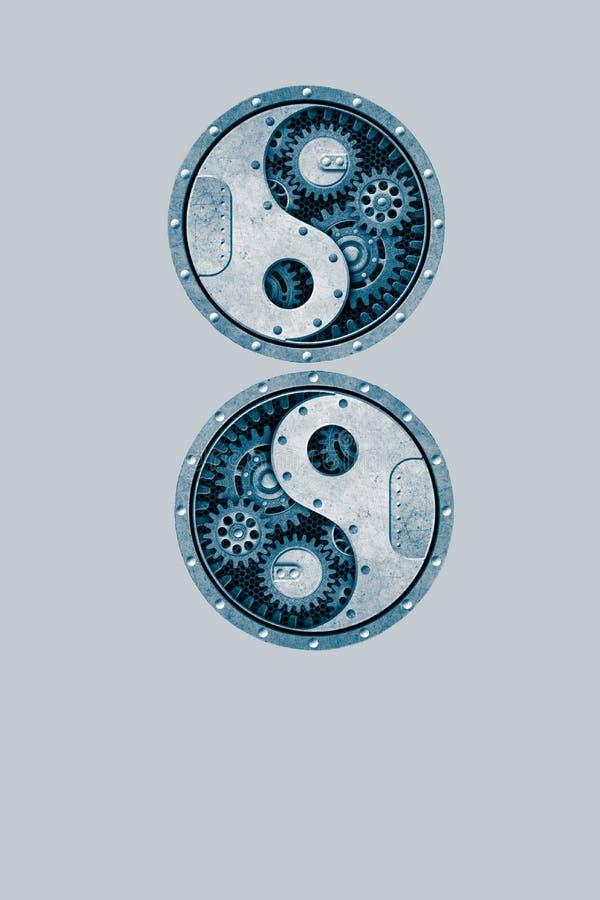 Home decor with yin-yang symbol handmade in wooden. Metal, white, black, blue, pink, yellow, zen, meditation, spiritual, creation, inspiration, artwork stock photos