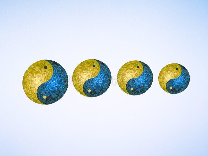 Home decor with yin-yang symbol handmade in wooden. Metal, white, black, blue, pink, yellow, zen, meditation, spiritual, creation, inspiration, artwork royalty free stock image