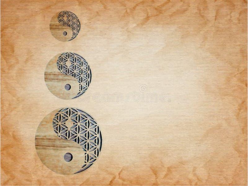 Home decor with yin-yang symbol handmade in wooden. Metal, white, black, blue, pink, yellow, zen, meditation, spiritual, creation, inspiration, artwork royalty free stock photo
