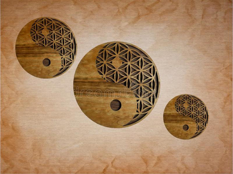 Home decor with yin-yang symbol handmade in wooden. Metal, white, black, blue, pink, yellow, zen, meditation, spiritual, creation, inspiration, artwork stock photography