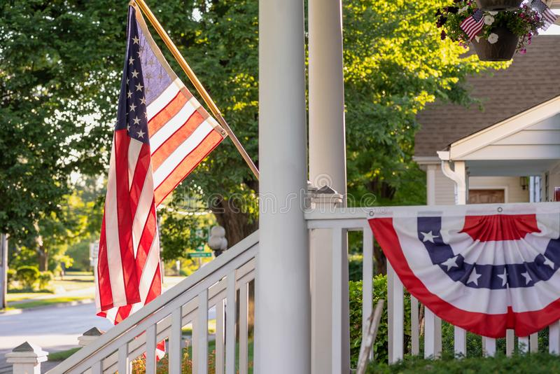 Home decorated for 4th of July stock photography