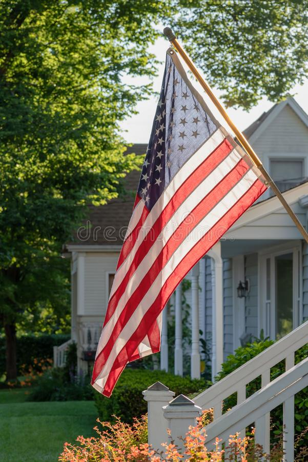 Home decorated for 4th of July stock photos