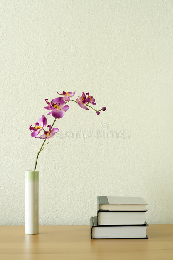 Home decoration. Books and flower, home decoration concept royalty free stock photo