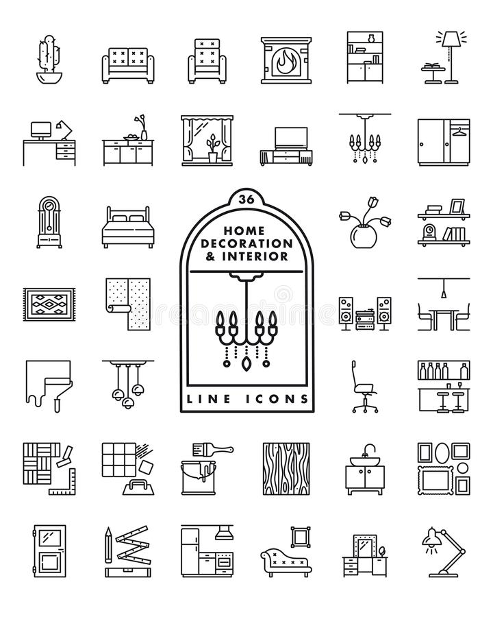 Free Home Decoration And Interior Line Icons Vector Set Stock Photos - 135980873