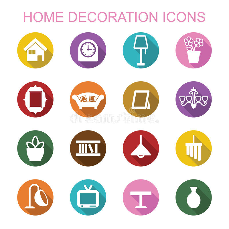 Download Home Decoration Long Shadow Icons Stock Vector   Illustration Of  Light, Equipment: 49395283