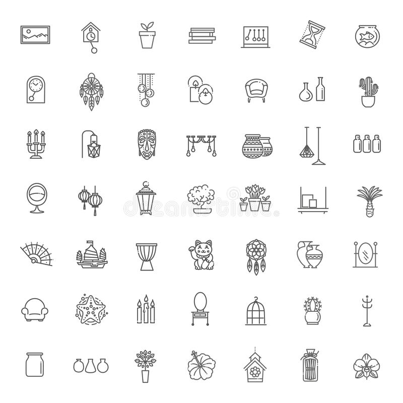 Download Home Decoration , Vector Thin Line Icons Stock Vector    Illustration Of Cabinet, Accessories