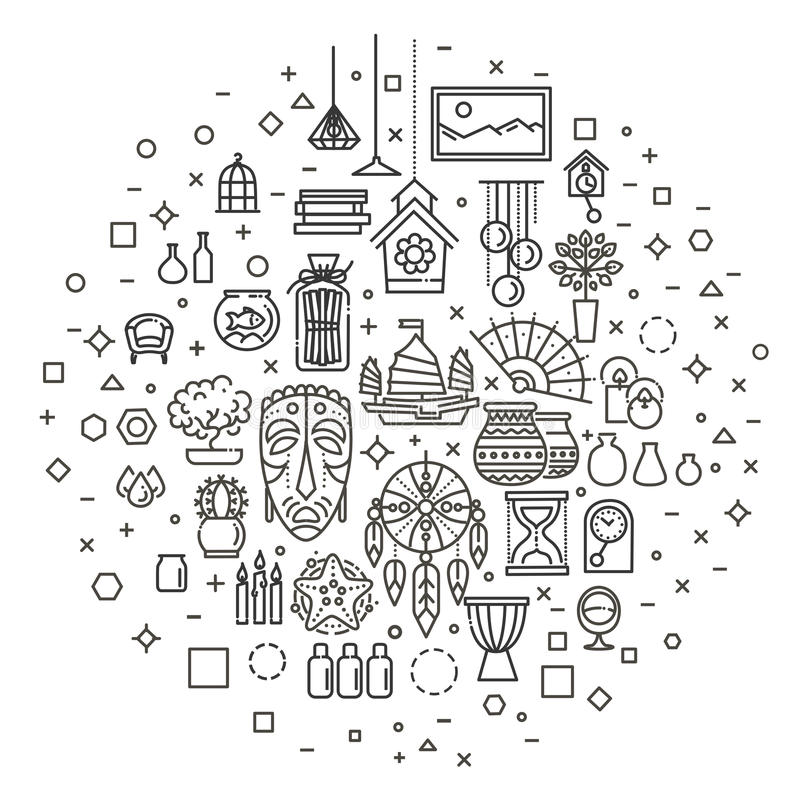 Download Home Decoration, Vector Thin Line Icons Stock Vector    Illustration Of Accessories, Interior