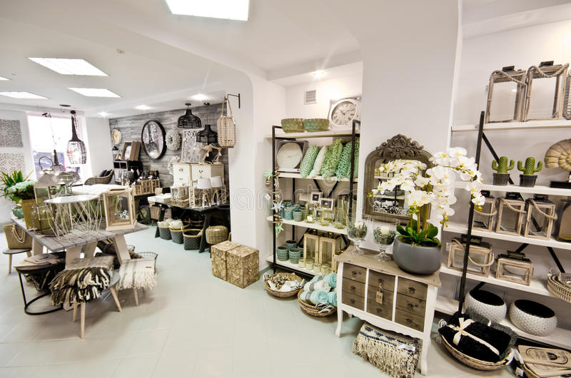 Home decorations shop interior. The interior of a shop with home decor or decoration articles and various items. Whole series with sebczseries934 keyword stock photography