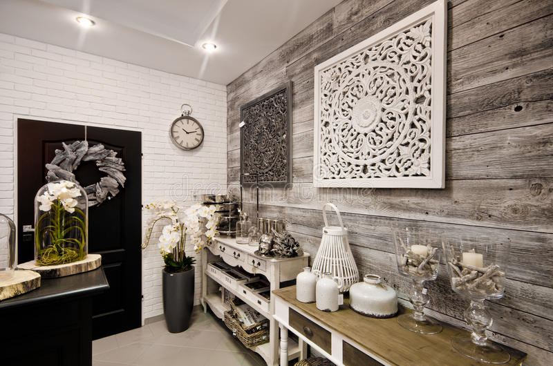 Home decorations shop interior. The interior of a shop with home decor or decoration articles and various items. Whole series with sebczseries934 keyword stock image