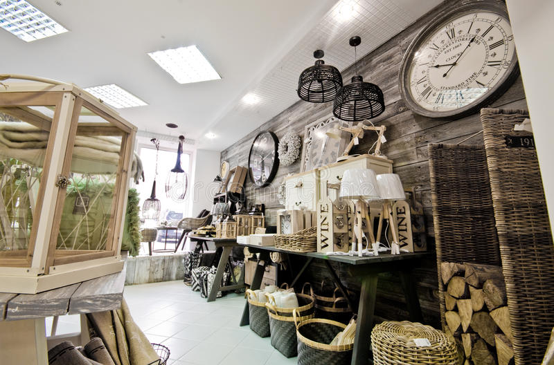 Home decorations shop interior. The interior of a shop with home decor or decoration articles and various items. Whole series with sebczseries934 keyword royalty free stock photography