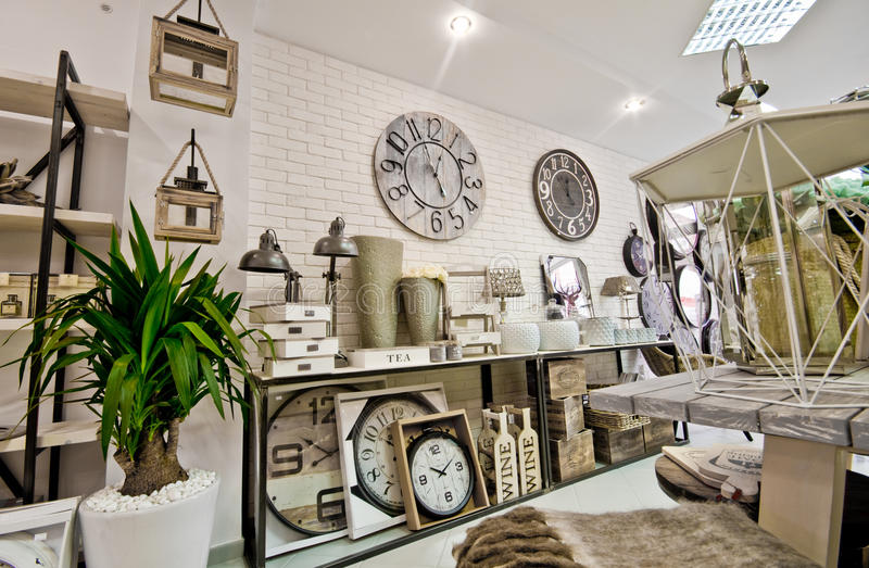 Home decorations shop interior. The interior of a shop with home decor or decoration articles and various items. Whole series with sebczseries934 keyword royalty free stock photo