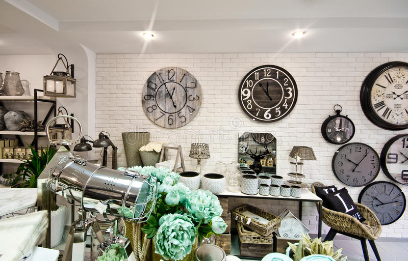 Home decorations shop interior. The interior of a shop with home decor or decoration articles and various items. Whole series with sebczseries934 keyword stock photo