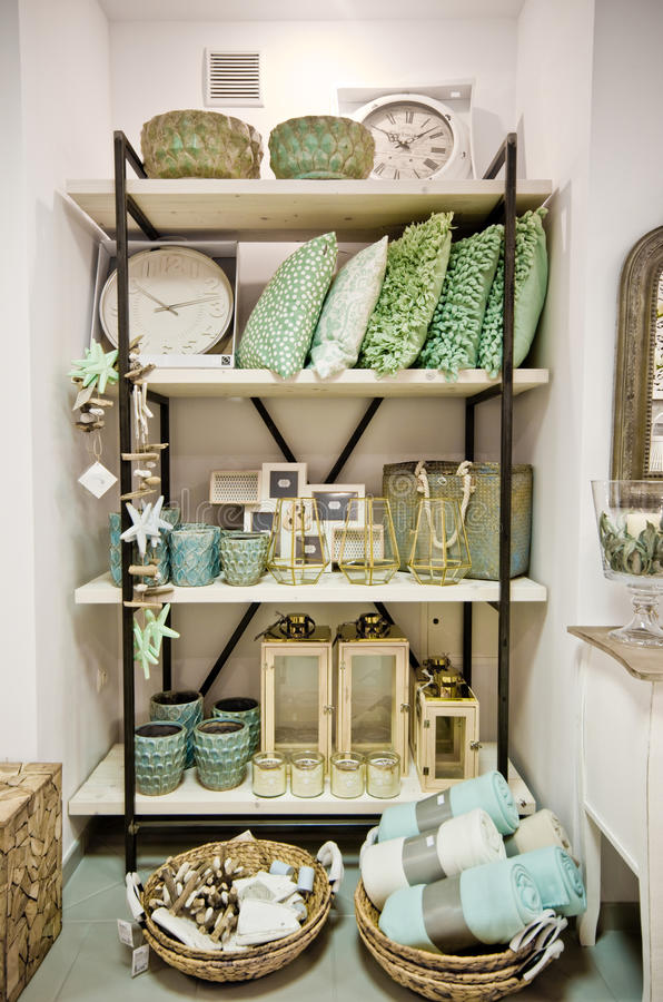 Home decorations shop interior. The interior of a shop with home decor or decoration articles and various items. Whole series with sebczseries934 keyword royalty free stock images
