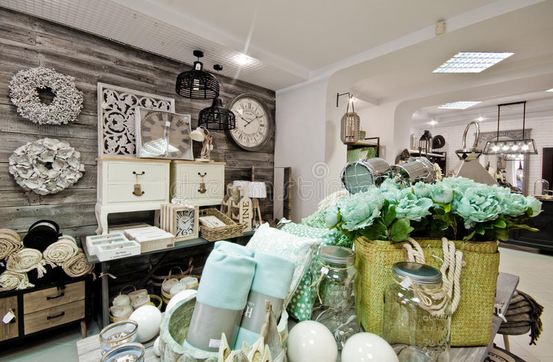 Home decorations shop interior. The interior of a shop with home decor or decoration articles and various items. Whole series with sebczseries934 keyword royalty free stock photos
