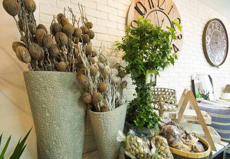 Home decorations shop interior. The interior of a shop with home decor or decoration articles and various items. Whole series with sebczseries934 keyword stock images