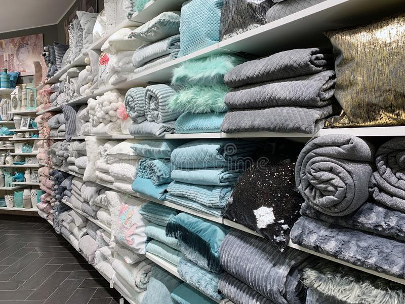 Home Decorations In Decorations Store. Modern textile shop for towels and interior decor. royalty free stock photo