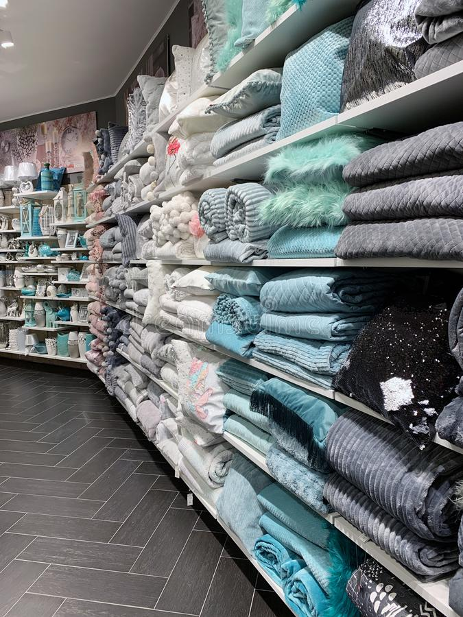 Home Decorations In Decorations Store. Modern textile shop for towels and interior decor. stock images