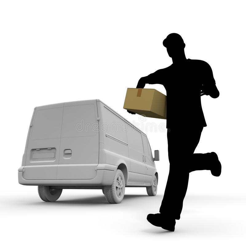Home delivery. Courier service to deliver the luggage. Prompt delivery. I deliver in the car. A lot of luggage. Delivery to men royalty free illustration