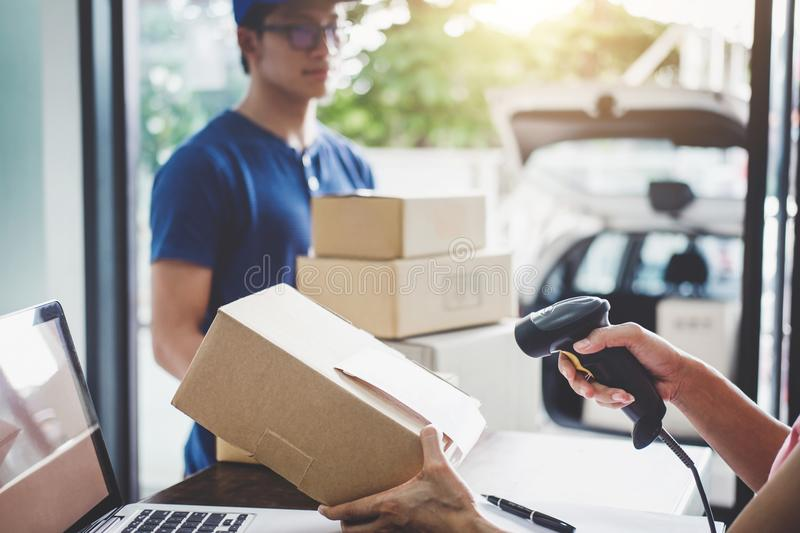 Home delivery service and working service mind, Woman working ba stock image