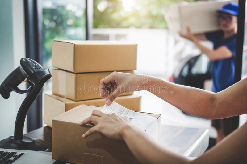 Home delivery service and working service mind, Woman working ba royalty free stock image