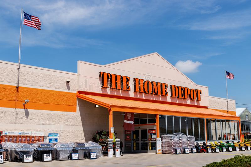 Ft. Wayne - Circa June 2018: Home Depot Location flying the American flag. Home Depot is the Largest Home Improvement Retailer II. Home Depot Location flying the stock image