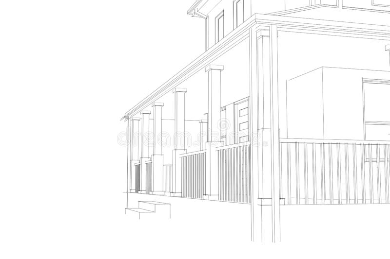 Home Design arcitecture blueprint: 3D wireframe close view vector illustration