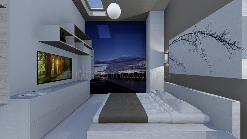 Home design. 3d design of modern home appartment indoor royalty free illustration